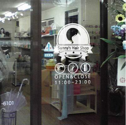 wandaufkleber 3d Friseur Schaufenster Glas Friseur Kosmetik Shop Dekoration Aufkleber können Stunden geändert werden