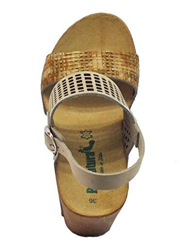 Sandali BioNatura in pelle laserata beige e natural zeppa alta Natural