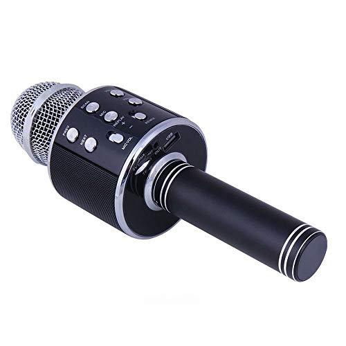 Mikrofon Ws858 Bluetooth Wireless Condenser Magic Karaoke Microphone Mobile Phone Player Mic Speaker Record Music,Black Mobile Magic