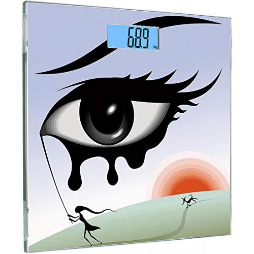 Ultra Slim Hochpräzise Sensoren Digitale Körperwaage Augentemperiertes Glas Personenwaage, Surreal Avantgarde Art Zusammensetzung Mädchen läuft mit Tränen im Auge Stick Sonnenuntergang Hund Bild Dekor -