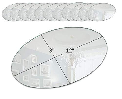 Light 30,5cm Oval Spiegel Kerze Teller mit Rund Rand, 12Stück (12 Runden Tisch Spiegel)