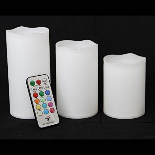 Frost Fire Moon Candles–Tre wetterfeste resina candele per interni ed esterni con timer e telecomando e cambia colore, Grande 10cm/12cm/14cm