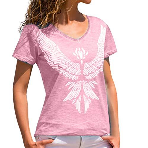 MRULIC Damen Damen Phoenix Print Kurzes Hemd Lässige Lose Weste Weiches bequemes (XXXL, Rosa)