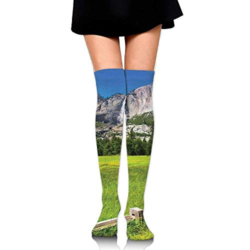 OQUYCZ Women's The Falls in Yosemite National Park California USA Countryside Landmark Comfortable High Boot Socks
