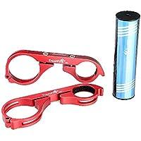 Lixada Doble Extendedor Sporte Manillar de Fibra de Carbon con Llave Allen Soporte de Lámpara para Linternas Luces Bicicleta MTB Rojo