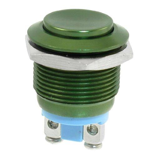 19-mm-colore-verde-montato-solo-radio-shack-spst-interruttore-a-pulsante-tondo-acciaio-inox