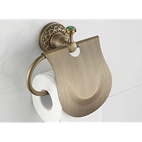 YanCui@ Cobre antiguo estilo europeo creativo vintage toalla baño Portarrollos porta papel higiénico titular baño