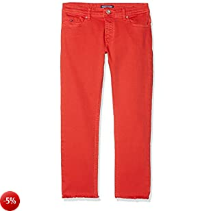 Tommy Hilfiger Lana Straight Cropped Icpst, Jeans Bambina, Rosso (Flame Scarlet 610), 92