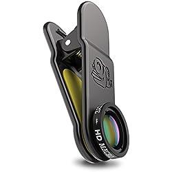Black Eye HD Macro G3 15x macro objectif pour tous les smartphones courants avant 2018 (Verre à revêtement double, Fixation clip universelle, Fonctionne avec DualCams)