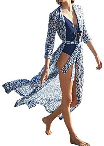 Uniquestyle Damen Sommer Kimono Cardigan Strand Chiffon Bluse Tops Boho Bikini Cover Up (Leopard, One Size) -