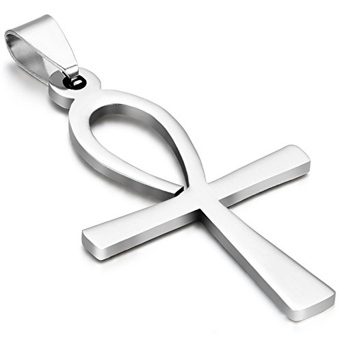 Oidea Bijoux Pendentif Croix Collier Homme - Chaîne - Ankh Egyptien - Acier Inoxydable - pour Homme et Femme - Couleur Argent - Avec Sac Cadeau