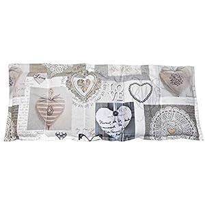 Dinkelkissen Kühlkissen Wärmekissen Herzen weiß/beige/grau 100% Baumwolle ca. 50×20