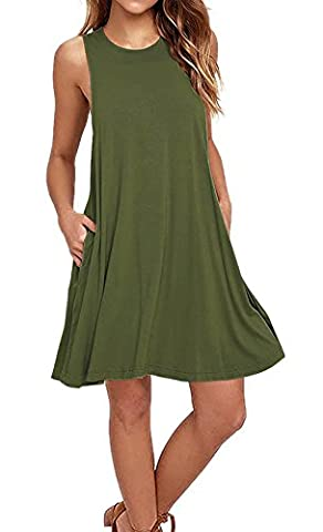 Women's Sleeveless Pockets Casual Swing Loose T-shirt Dresses