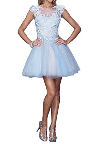 Victory bridal romantique 2015 neuf cocktailkleider abendkleider pour femme avec empiècement en dentelle tanzenkleider Bleu - Bleu clair