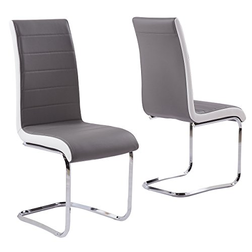 Set of 2 Faux Leather Kitchen Dining Room Chairs with streamline side decoration in Grey Black White 3 color choices (Grey)