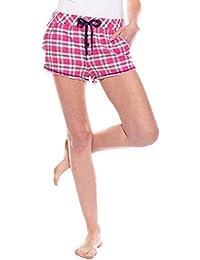 Moonline tolle Damen-Flanell-Shorts Schlafanzughose im garngefärbten Design mit Tunnelzug und Seitentaschen