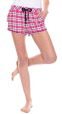 Moonline tolle Damen-Flanell-Shorts im garngefärbten Design, kariert in pink/grau/dunkelmarine, Gr. L (44/46)