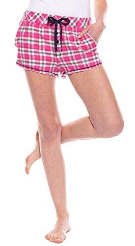 Grau Kariert Shorts (Moonline tolle Damen-Flanell-Shorts im garngefärbten Design, kariert in pink/grau/dunkelmarine, Gr. L (44/46))
