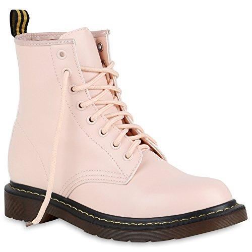 Damen Stiefeletten Lack Worker Boots Schnürer Grunge Punk Leder-Optik Schnürstiefeletten Camouflage Schuhe 140355 Rosa 37 Flandell