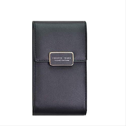 eldbörsen Female Leather Wallets Damen Clutch Handytasche GeldbörsenKartenhalterGeldbörse Long Design Hasp Wallet304-17 Black ()