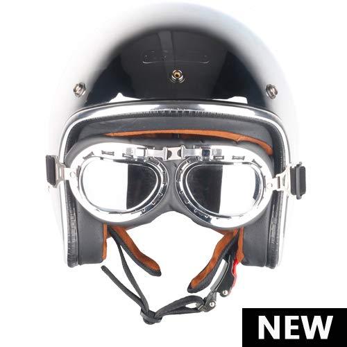 Ramdapro Motocicleta Vintage Casco Jet capacetes de Motociclista Harley Astilla Cromo Vespa Cascos para Moto Cafe Racer Espejo
