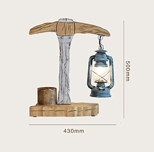 Lámpara de Mesa de Madera Maciza Grabada