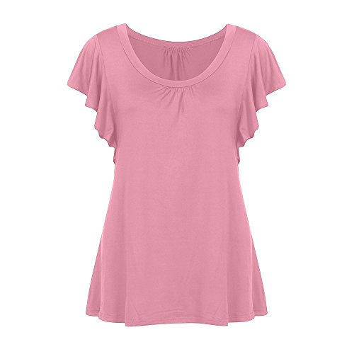 Satin Tunika Top (MRULIC 2018 Damen Rundhals Geripptes Sleeve Casual Falten Kurzarm T-Shirt mit Stretch Tunika Top(Rosa,EU-38/CN-S))