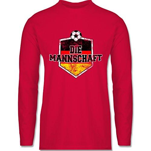 Shirtracer Fußball-WM 2018 - Russland - Deutschland- Die Mannschaft Vintage - Herren Langarmshirt Rot