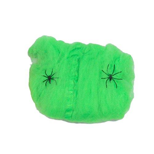 Tinksky Halloween Spider Web Elastische Baumwolle Spinnennetz für Halloween Home Bar Party Dekoration Party Scene Requisiten (grün)