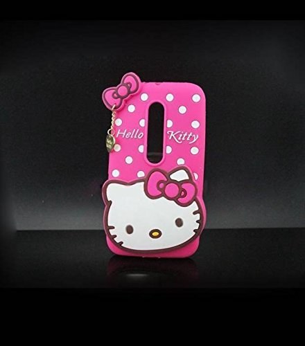 ANVIKA Printed Hello Kitty Soft Rubber Silicone Pink Back Cover Case For Motorola Moto X Play Back Cover-Pink