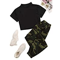 SheIn Women's 2 Piece Collar Short Sleeve Solid Tee with Camo Print Pants Set Multicolor L