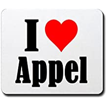 """EXCLUSIVO: Tapete de ratón """"I Love Appel"""" en Blanco, una gran idea para un regalo para sus socios, colegas y muchos más!- regalo de Pascua, Pascua, ratón, Palmrest, antideslizante, juegos de jugador, cojín, Windows, Mac OS, Linux, ordenador, portátil, PC, oficina, tableta, Amo, Made in Germany."""