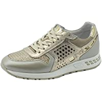 Sneakers NeroGiardini per donna in pelle e camoscio platino e beige