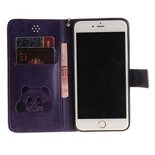Custodia iPhone SE, custodia a portafoglio iPhone 5S in ecopelle Toymm PU con scomparti per carte di credito e chiusura magnetica, design in 3D, custodia di protezione intero corpo del telefono con pe Purple