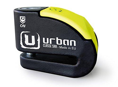 Urban Security UR10 Candado Antirrobo Disco con Alarma 120Db +Warning, Negro/Amarillo, 10...
