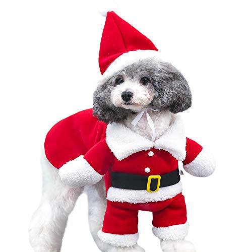 Haustier Hund Katze Santa Claus Fancy Dress Kostüm Outfit Kleidung Haus-Herbst und Winter Hund Stehen und wechseln Outfit,XS (Claus Santa Outfit)