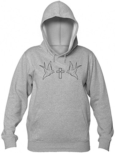Two Birds With A Cross Minimal Design Kapuzenpullover für Damen Women's Hooded Sweatshirt Large