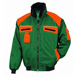Allroundblouson 9420-0-1119-XL Allroundblouson 65% Polyester 35% Cotton Upper Water and Dirt Repellent Removable Sleeves and Fur Collar Size XL Green Orange