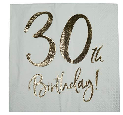 khevga Servietten 30. Geburtstag Weiß mit Foliendruck Gold 33x33 cm (40) (Weiß Gold Tischdekoration Und)