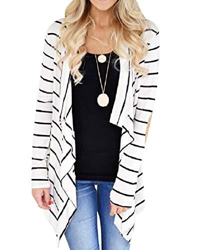 CuteRose Women's Elbow Patches Cozy Top Long Sleeve Asymmetrical Cardigan White L -