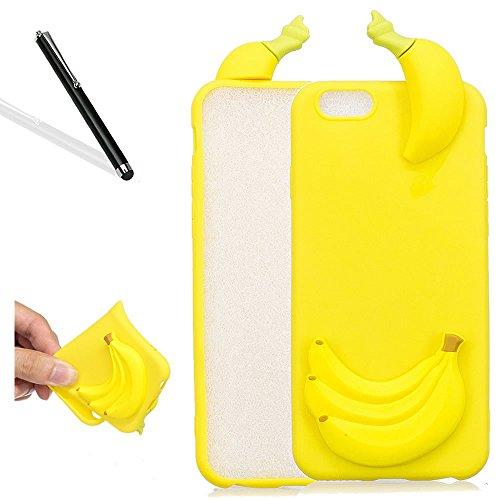 3D Hülle fü iPhone 6S (4.7 Zoll),Karikatur Hülle fü iPhone 6,Leeook Lovely Cute 3D Schwarz Panda Cartoon Muster Entwurf Ultra Dünn Soft Flex TPU Silikon Schutzhüllen Cover Schutzhülle Back Case Tasche 3D Gelb Banane