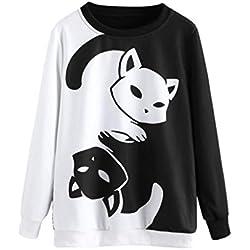 KOLY Mujer Cuello Redondo Gato Anime de Manga Larga Sudaderas Tops Otoño Invierno Moda Casual Sudadera Impresión gato Camisa de entrenamiento Pullover T-shirt Blusa Moda Suéter Tops (M, Negro)