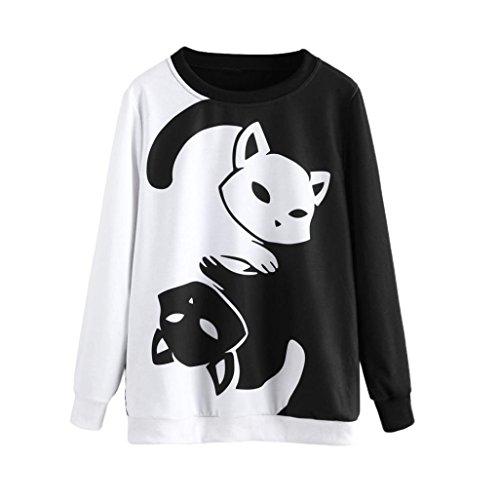 KOLY Mujer Cuello Redondo Gato Anime de Manga Larga Sudaderas Tops Otoño Invierno Moda Casual Sudadera Impresión gato Camisa de entrenamiento Pullover T-shirt Blusa Moda Suéter Tops (XXL, Negro)
