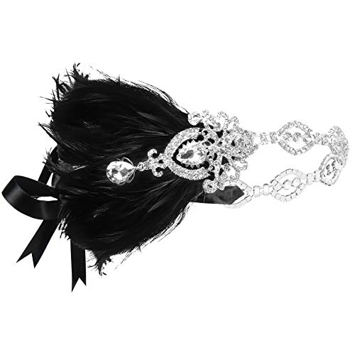 Coucoland 1920s Stirnband Feder mit Strass Damen 20er Jahre Stil Flapper Charleston Haarband Great Gatsby Damen Fasching Kostüm Accessoires - Schwarzes Flapper Kostüm Kopfbedeckung