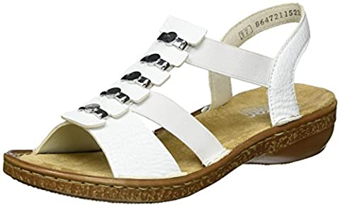 Rieker Damen 62850 Offene Sandalen mit Keilabsatz, Weiß (Weiss / 80), 39 EU
