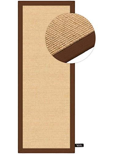 Benuta Alfombra de sisal con Cenefa | Alfombra de Fibra Natural para Piso y Salón, marrón, 68x300...