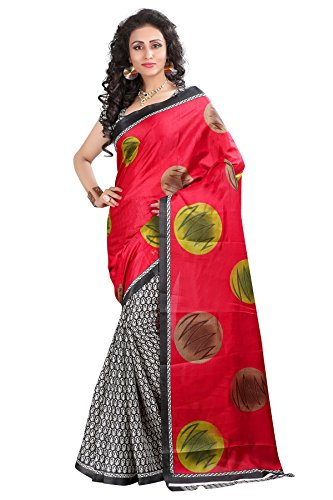 J B Fashion Women's Bhagalpuri Red And White Saree With Blouse Piece