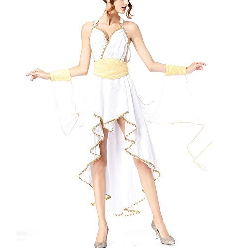 Kostüm Der Griechischen Göttin - PAOFU Göttin Kostüm für Erwachsene Cosplay,Antike Griechische Kostüm-Maskerade der Römischen Göttin der Karneval Fasching Damen,Weiß,OneSize