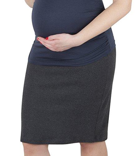 Mija - Schwangerschaftsrock aus Strickstoff mit extra Bauch-Panel 3045 (40 / 42, Graphit)
