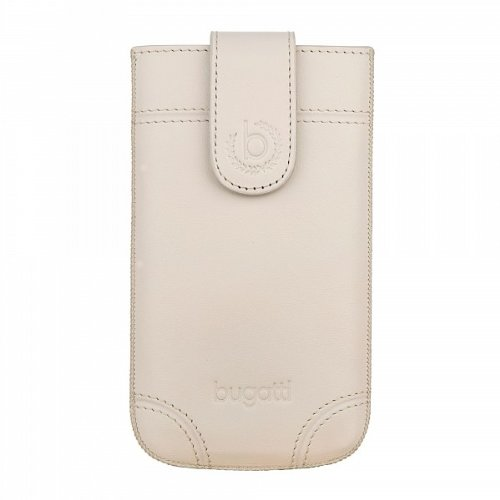 bugatti Dublin Echtledertasche für Samsung Galaxy SII, Microsoft Lumia 430, Huawei Y300, uvm. - Ivory [Größe: SL | Handarbeit | Einfache Entnahme | Magnetverschluss] - 08317